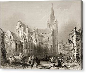 St. Patrick S, Dublin, Ireland. Drawn Canvas Print by Vintage Design Pics