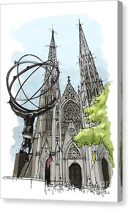 St. Patricks Cathedral, New York City Sketch Canvas Print by Pablo Franchi