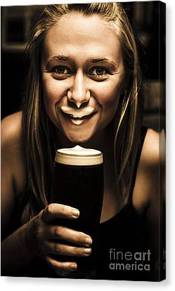 St Patricks Day Woman Imitating An Irish Man Canvas Print