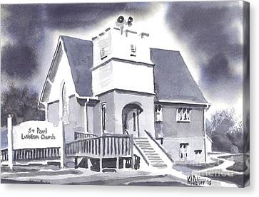 St Paul Lutheran With Ink Canvas Print by Kip DeVore