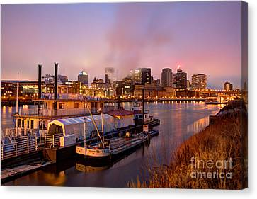 Evening Scenes Canvas Print - St Paul Minnesota Its A River Town by Wayne Moran