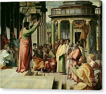 St. Paul Preaching At Athens  Canvas Print by Raphael