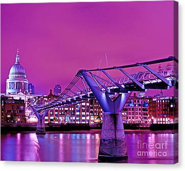 St Pauls And Millennium Bridge Over The River Thames Canvas Print