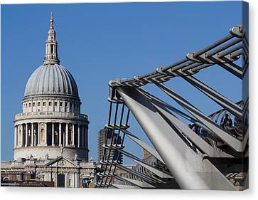 St Pauls Cathedral And The Millenium Bridge  Canvas Print by David Pyatt