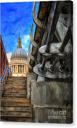 St. Paul's Cathedral And The Millennium Bridge Canvas Print by Lois Bryan