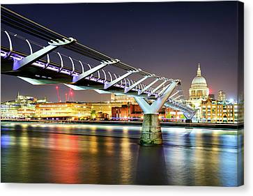 St Paul's Cathedral During Night From The Millennium Bridge Over River Thames, London, United Kingdom. Canvas Print