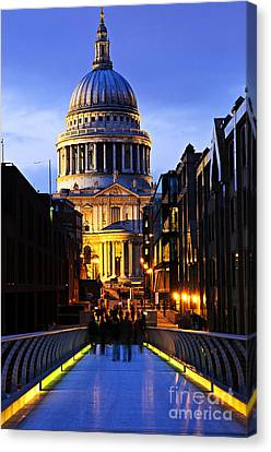 St. Paul's Cathedral From Millennium Bridge Canvas Print by Elena Elisseeva