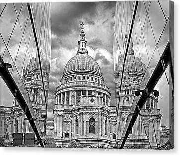 St Pauls Cathedral Reflections - Black And White Canvas Print by Gill Billington