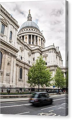 St Pauls Cathedral With Black Taxi Canvas Print