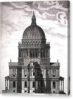 St. Pauls Drawn By Christopher Wren Canvas Print by Wellcome Images