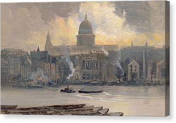 St Paul's From The River Canvas Print by George Hyde Pownall