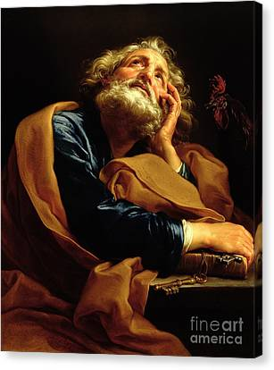 Robes Canvas Print - St Peter by Pompeo Girolamo Batoni