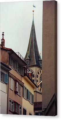 St. Peter Tower Zurich Switzerland Canvas Print by Susanne Van Hulst