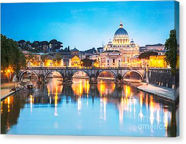St Peter's Basilica And Bridge Over Tevere At Dusk - Rome Canvas Print by Matteo Colombo