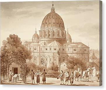 St Peters Seen From A Vineyard, 1833 Canvas Print by Agostino Tofanelli