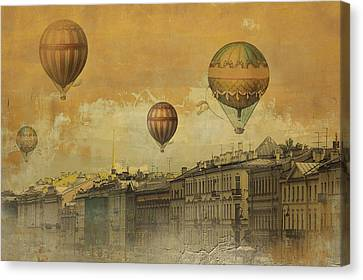 Canvas Print featuring the digital art St Petersburg With Air Baloons by Jeff Burgess