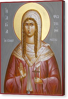 St Photini - The Samaritan Woman Canvas Print by Julia Bridget Hayes