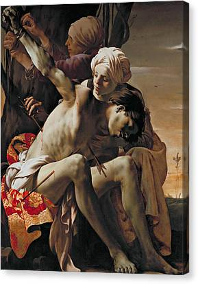 St Sebastian Tended By Irene And Her Maid Canvas Print by Hendrick ter Brugghen