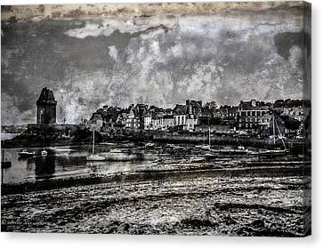 Canvas Print featuring the photograph St Servan's Beach by Karo Evans