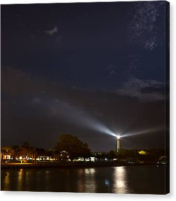 St. Simons Island Lighthouse At Night Canvas Print by Chris Bordeleau