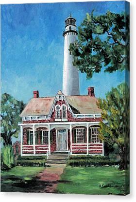 St. Simons Light Canvas Print by Albert Fendig
