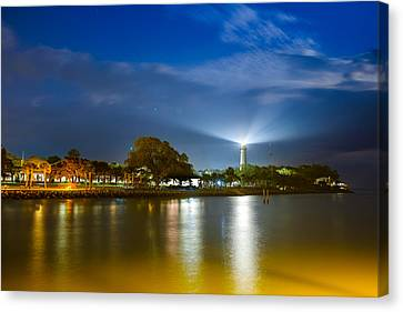 St. Simons Lighthouse Illumination Canvas Print by Chris Bordeleau