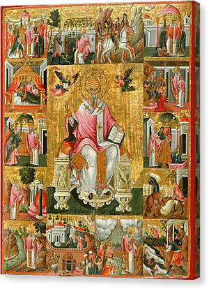 St Spyridon And Scenes From His Life Canvas Print by Theodoros Poulakis