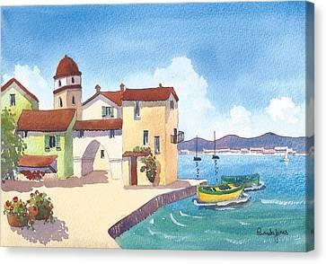 St Tropez Harbour South Of France Canvas Print by Pamela Jones