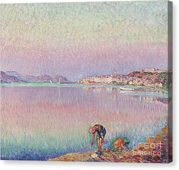 St Tropez. Two Kids By The Water Canvas Print by MotionAge Designs
