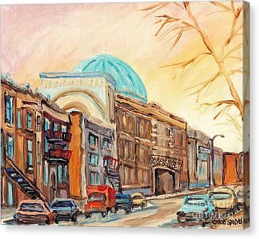 St Urbain Street Scene Baron Byng High School Painting Montreal Memories Carole Spandau              Canvas Print