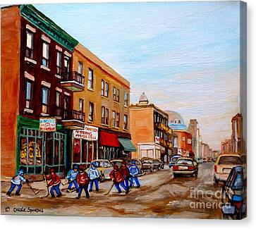 St.viateur Bagel Canvas Print - St. Viateur Bagel Hockey Game by Carole Spandau
