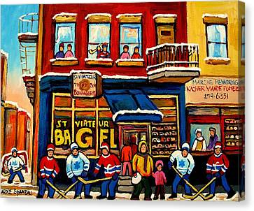 St. Viateur Bagel Hockey Practice Canvas Print