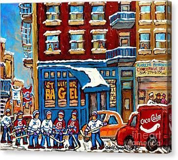 St.viateur Bagel Canvas Print - St Viateur Bagel Paintings Montreal Memories Street Hockey Coca Cola Truck Canadian Winter Scenes    by Carole Spandau