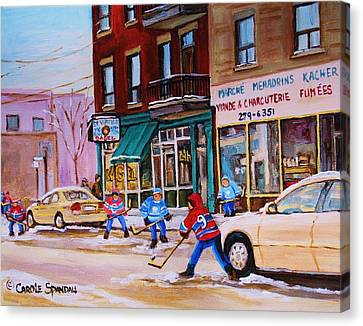 St. Viateur Bagel With Boys Playing Hockey Canvas Print by Carole Spandau