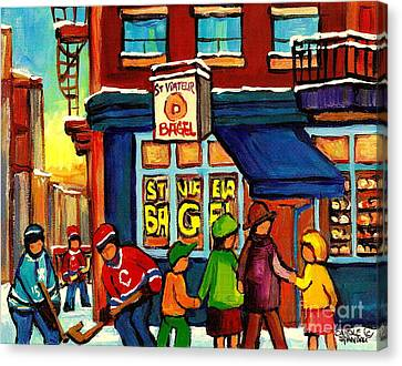 St.viateur Bagel Canvas Print - St. Viateur Bagel With Hockey by Carole Spandau