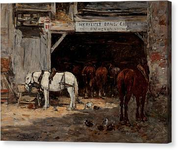 Stable Canvas Print by Eugene Boudin