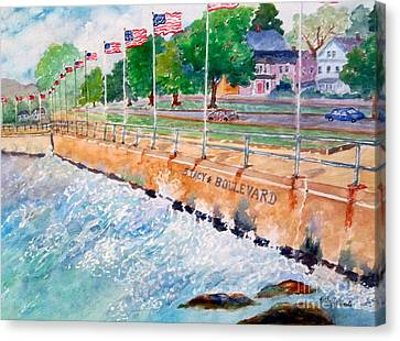 Stacey Boulevard,gloucester, Ma Canvas Print by Kathryn G Roberts