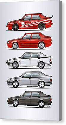 Technical Canvas Print - Stack Of Alfa Romeo 75 Tipo 161, 162b Milanos  by Monkey Crisis On Mars