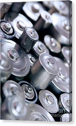 Stack Of Batteries Canvas Print by Carlos Caetano
