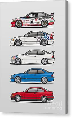 Stack Of Bmw 3 Series E36 Coupes Canvas Print by Monkey Crisis On Mars