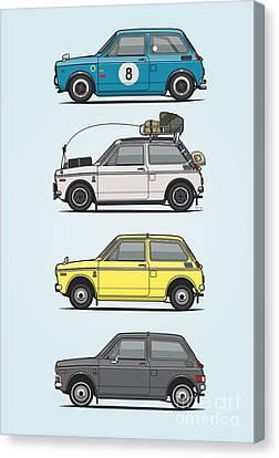 Stack Of Honda N360 N600 Kei Cars Canvas Print by Monkey Crisis On Mars