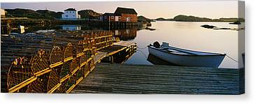 Stack Of Lobster Traps At A Dock Canvas Print by Panoramic Images
