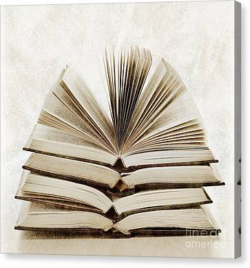 Library Canvas Print - Stack Of Open Books by Elena Elisseeva
