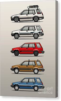 Red Roof Canvas Print - Stack Of Toyota Tercel Sr5 4wd Al25 Wagons by Monkey Crisis On Mars
