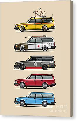 Stack Of Volvo 200 Series 245 Wagons Canvas Print by Monkey Crisis On Mars