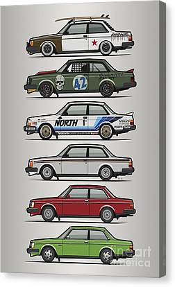 Stack Of Volvo 242 240 Series Brick Coupes Canvas Print by Monkey Crisis On Mars