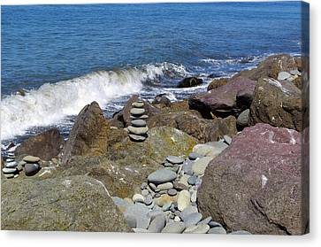 Canvas Print featuring the photograph Stacked Against The Waves by Tikvah's Hope