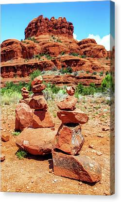 Stacked Rocks At Bell Rock In Sedona Canvas Print by Susan Schmitz