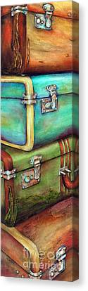 Stacked Canvas Print - Stacked Vintage Luggage by Winona Steunenberg