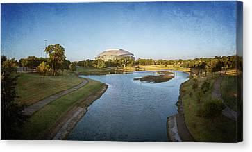Ballpark Canvas Print - Stadium And Park Panorama Bleach Bypass by Joan Carroll